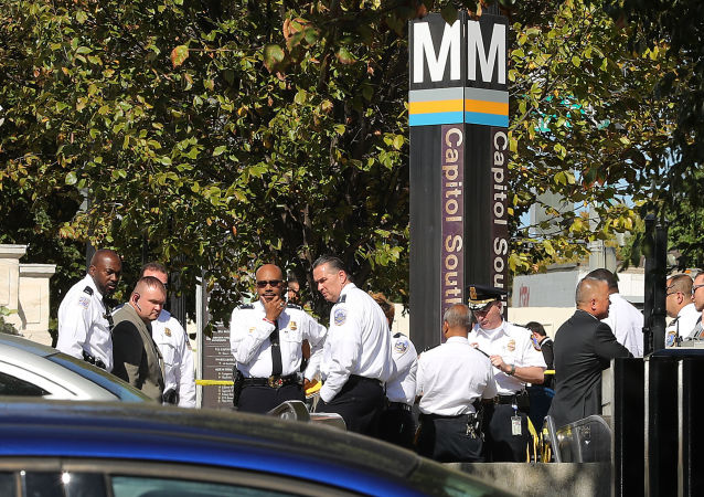 District of Columbia Metro Police, U.S. Capitol Police and other law enforcement officials respond to a stabbing at the Capitol South Metro station a block away from the Cannon House Office Building on Capitol Hill October 11, 2019 in Washington, DC.