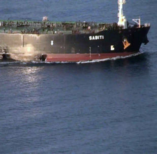 A damage is seen on Iranian-owned Sabiti oil tanker sailing in the Red Sea, October 13, 2019. Picture taken October 13, 2019.