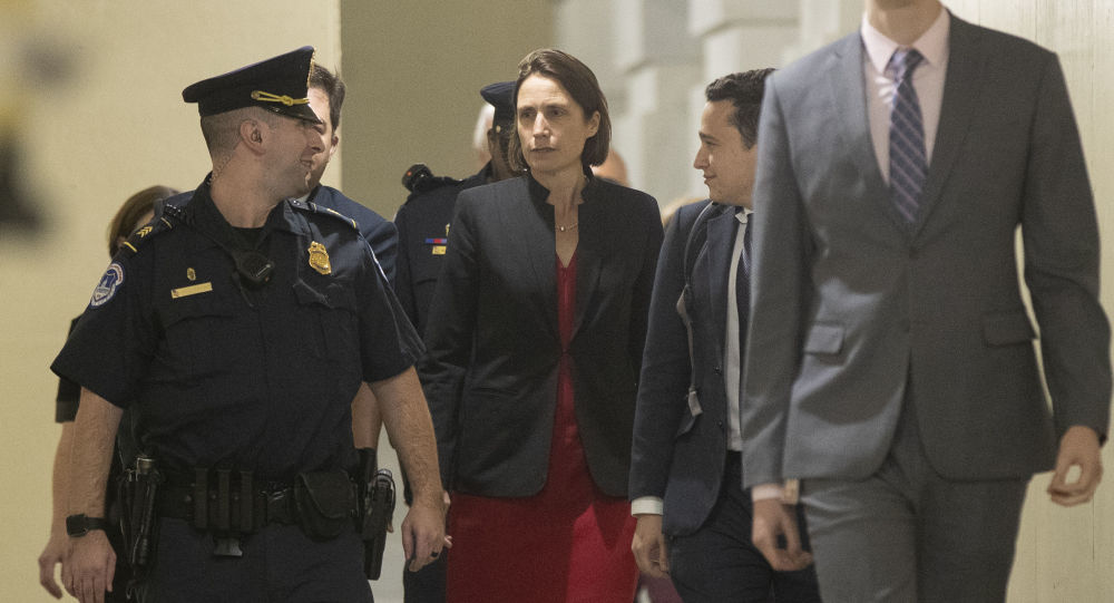 Former White House advisor on Russia, Fiona Hill, leaves Capitol Hill in Washington, Monday, Oct. 14, 2019, after testifying before congressional lawmakers as part of the House impeachment inquiry into President Donald Trump. (AP Photo/Manuel Balce Ceneta)