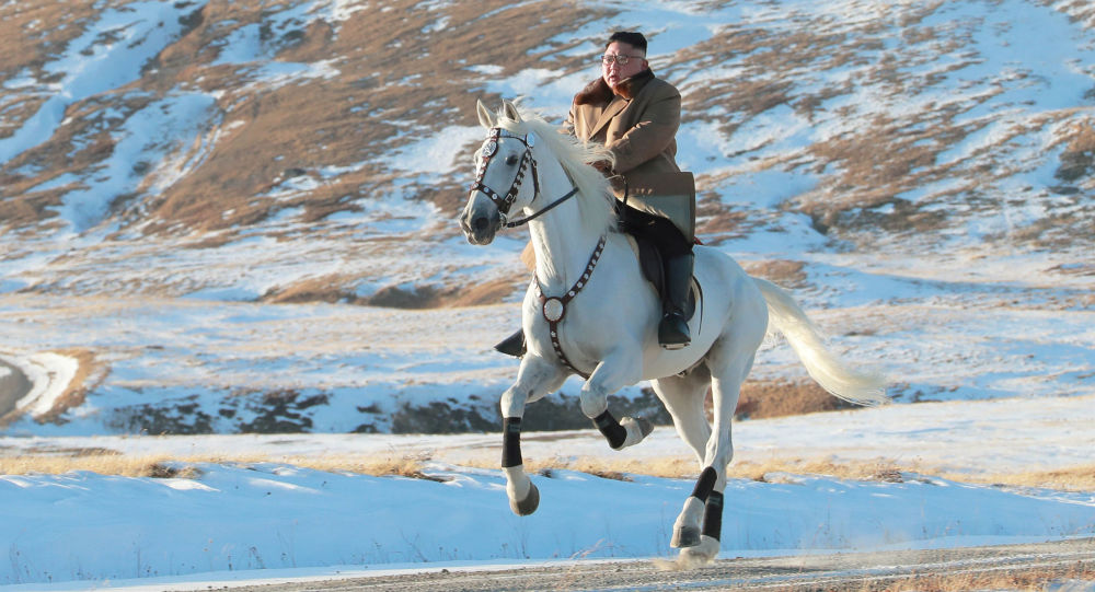 North Korean leader Kim Jong Un rides a horse during snowfall in Mount Paektu in this image released by North Korea's Korean Central News Agency (KCNA) on October 16, 2019