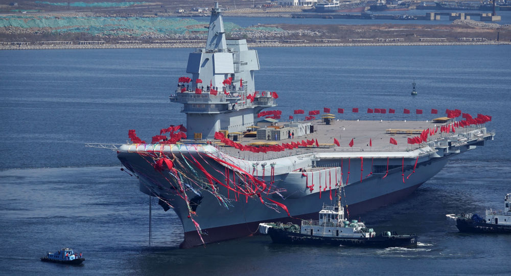 Type 001A, China's second aircraft carrier, is seen during a launch ceremony at Dalian shipyard in Dalian, northeast China's Liaoning Province, April 26, 2017