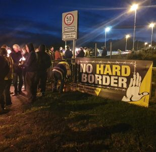 Communities Against Brexit organised dozens of torchlit protests along the Irish border on 16 October 2019