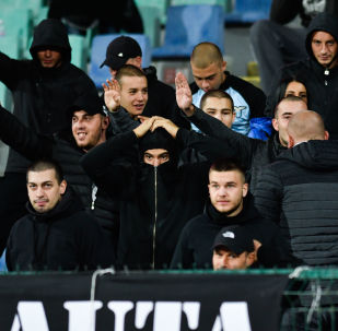 Bulgarian fans react during the Euro 2020 Group A football qualification match between Bulgaria and England at the Vasil Levski National Stadium in Sofia on October 14, 2019