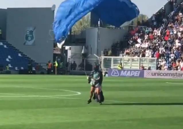 Parachutist Interrupts Inter Milan Game