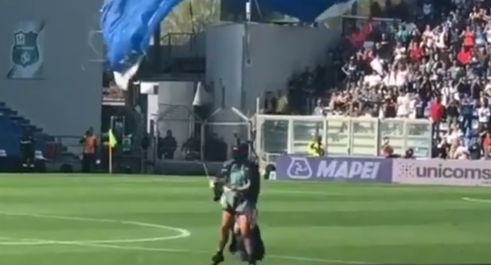 Parachutist Interrupts Inter Milan Game