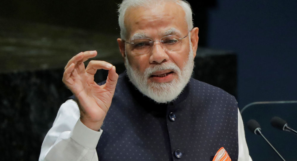 FILE PHOTO: Prime Minister of India Narendra Modi addresses the 74th session of the United Nations General Assembly at U.N. headquarters in New York, U.S., September 27, 2019