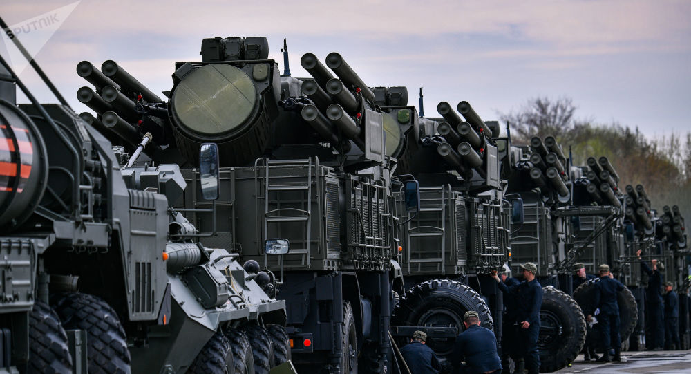 The Pantsir-S mobile self-propelled surface-to-air anti-aircraft system vehicles are parked during its preparation for the upcoming Victory Day Military Parade, in Moscow, Russia.