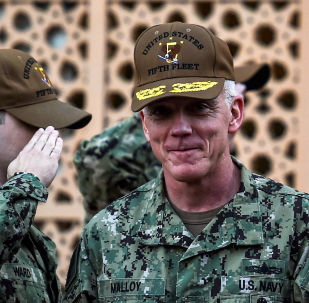 Vice Admiral James Malloy, commander of the U.S. Naval Forces Central Command (NAVCENT)/5th Fleet is seen during U.S. Secretary of State Mike Pompeo's visit to the U.S. Naval Forces Central Command center in Manama, Bahrain, January 11, 2019