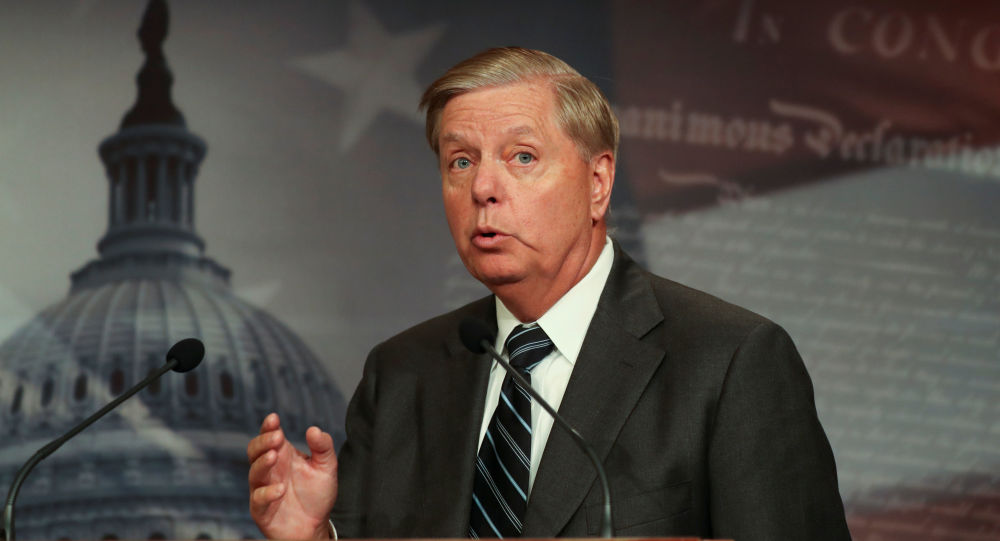 U.S. Senator Lindsey Graham holds a news conference to discuss his plans to introduce a Senate resolution condeming the Democratic-led U.S. House of Representatives impeachment inquiry into U.S. President Donald Trump as illegitimate at the U.S. Capitol in Washington, U.S., October 24, 2019.