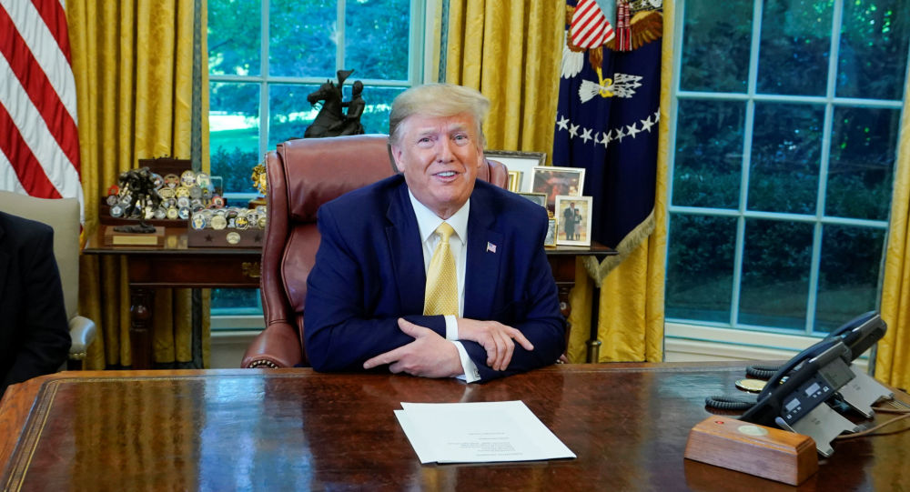 U.S. President Donald Trump speaks during a meeting with China's Vice Premier Liu He in the Oval Office at the White House after two days of trade negotiations in Washington, U.S., October 11, 2019.