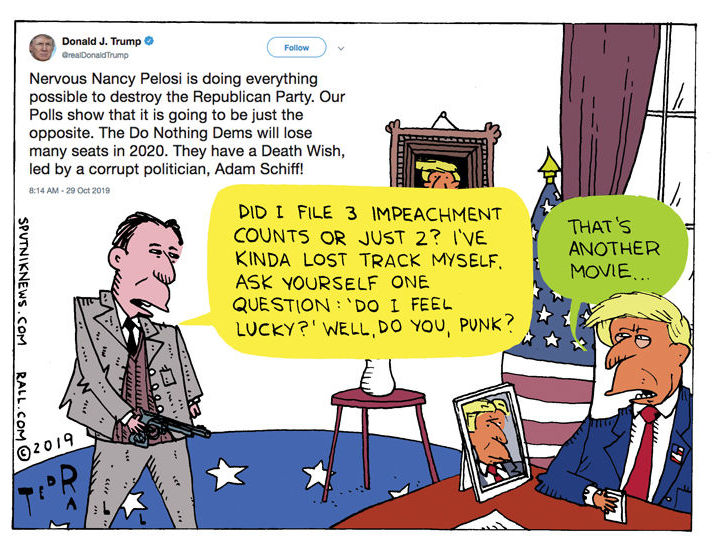 President Trump tweeted that the Democratic Party has a death wish and that it is being led to doom by Adam Schiff.