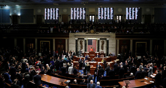 The votes of the members are displayed on an electronic tote board as the U.S. House of Representatives cast their votes on a resolution that sets up the next steps in the impeachment inquiry of U.S. President Donald Trump on Capitol Hill in Washington, U.S., October 31, 2019. REUTERS/Tom Brenner