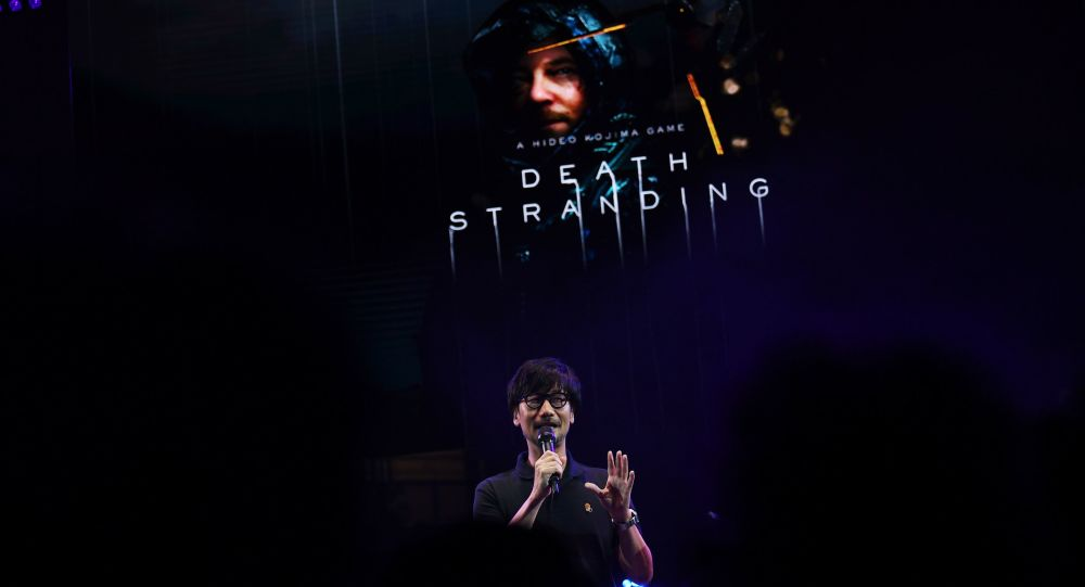 Japanese video game designer, writer, director and producer Hideo Kojima speaks on stage to present his new video game Death Stranding during the Tokyo Game Show in Makuhari, Chiba Prefecture on September 12, 2019.