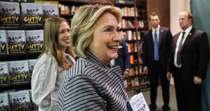 Hillary Clinton and Chelsea Clinton arrive for an event for their new book The Book of Gutsy Women in Manhattan, 3 October 2019.