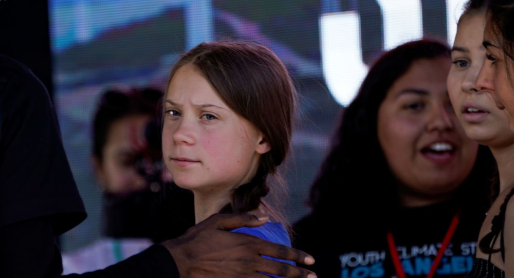 Swedish teen climate activist Greta Thunberg looks on during a march and rally at the Youth Climate Strike in Los Angeles, California, U.S., November 1, 2019.