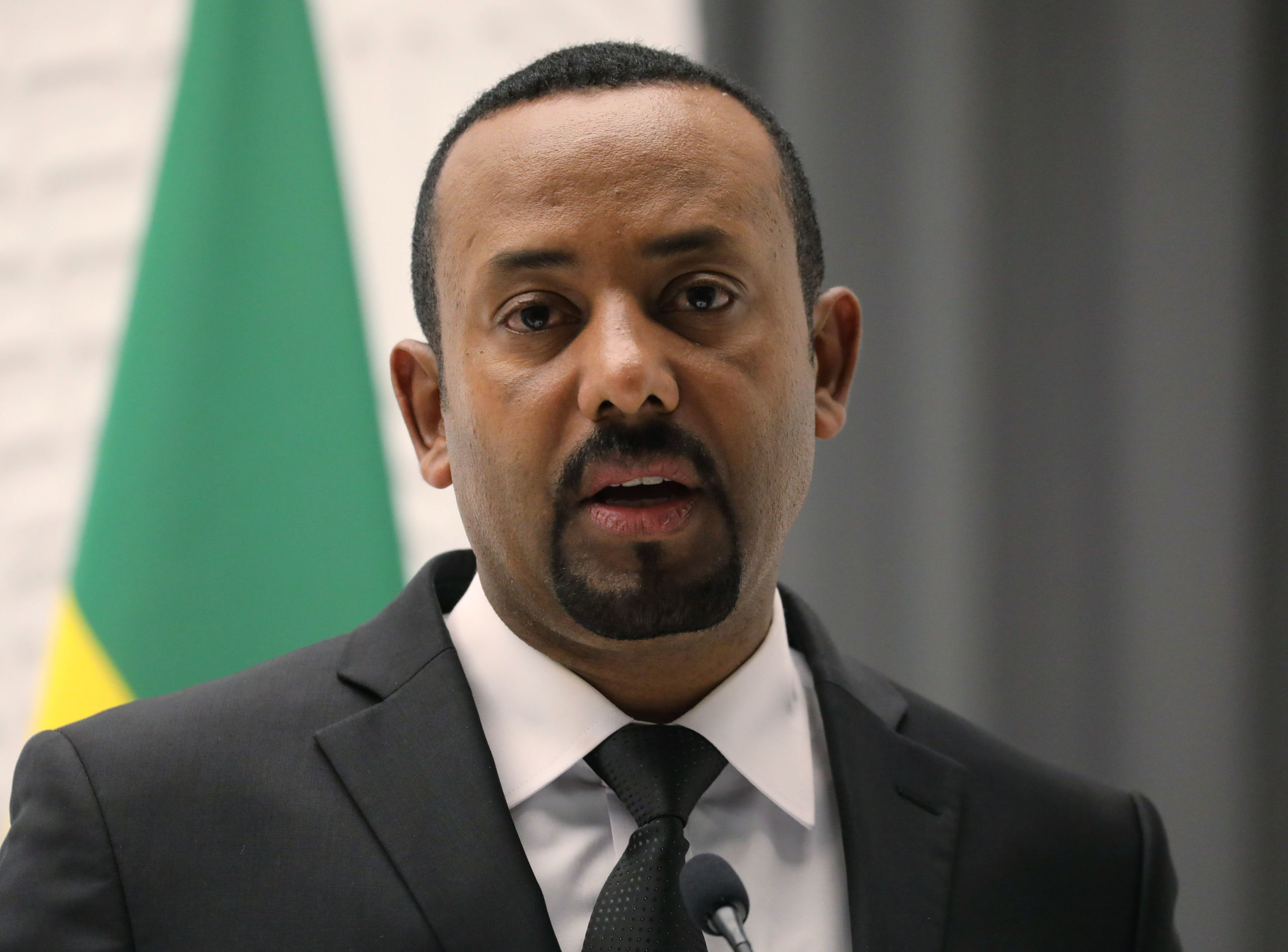 In this file photo taken on March 12, 2019 Ethiopian Prime Minister Abiy Ahmed delivers a speech during a meeting with French President in Addis Ababa.
