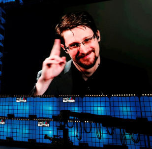 Edward Snowden gestures as he speaks via livestream at Web Summit in Lisbon, Portugal, November 4, 2019