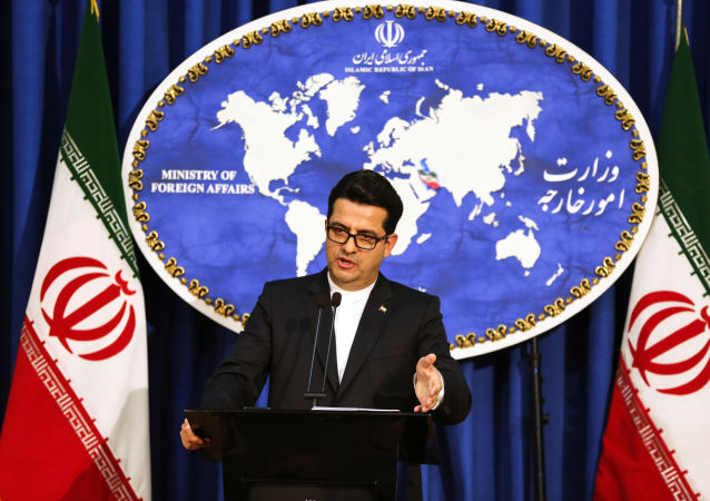 Abbas Mousavi, spokesman for Iran's Foreign Ministry, gives a press conference in the capital Tehran on May 28, 2019.