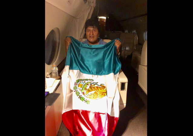 This photo released by by Mexico's Foreign Minister Marcelo Ebrard shows Bolivia's former President Evo Morales holding a Mexican flag aboard a Mexican Air Force aircraft, Monday, Nov. 11, 2019