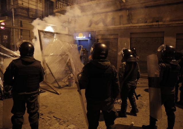 Police near the senate in Bolivia