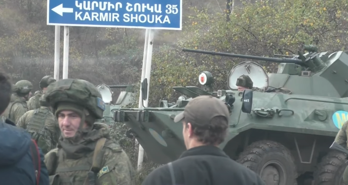 Watch Russian Peacekeepers Deployed Outside Karabakh Capital