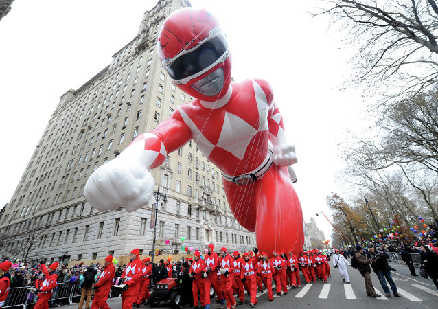 The Red Mighty Morphin Power Ranger makes his legendary debut at the 88th annual Macy's Thanksgiving Day Parade, Thursday, Nov. 27, 2014, in New York.