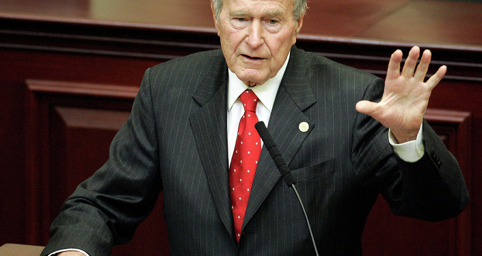 Former President George H. W. Bush speaks at a leadership forum, Monday, Dec. 4, 2006, in Tallahassee, Fla. Bush was invited to the forum by his son Gov. Jeb Bush.