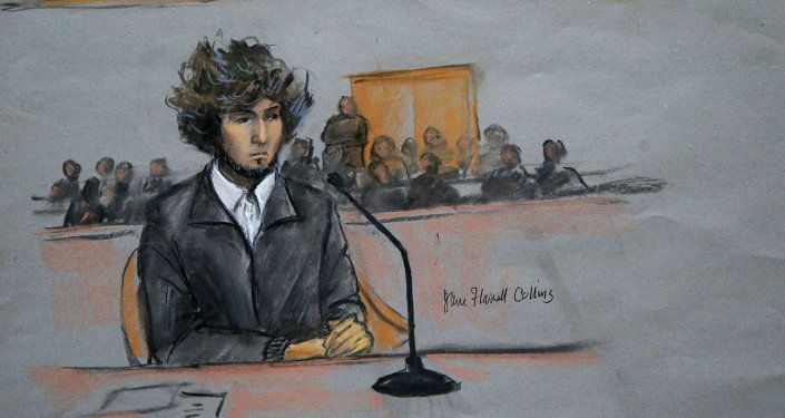 Courtroom sketch of Boston Marathon bombing suspect Dzhokhar Tsarnaev.