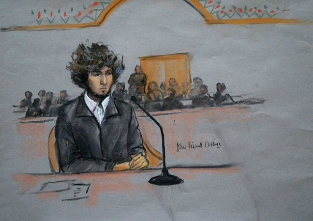 Courtroom sketch of Boston Marathon bomber Dzhokhar Tsarnaev