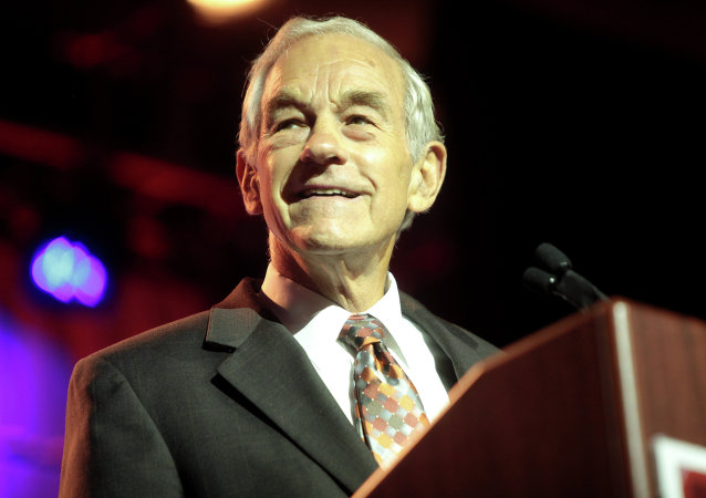 Former Congressman Ron Paul of Texas speaking at the 2014 Liberty Political Action Conference (LPAC) at the Hilton Alexandria Mark Center in Alexandria, Virginia.