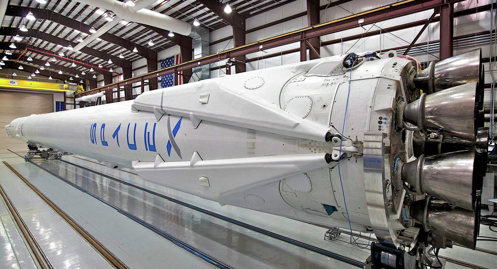 SpaceX booster rocket in berth.
