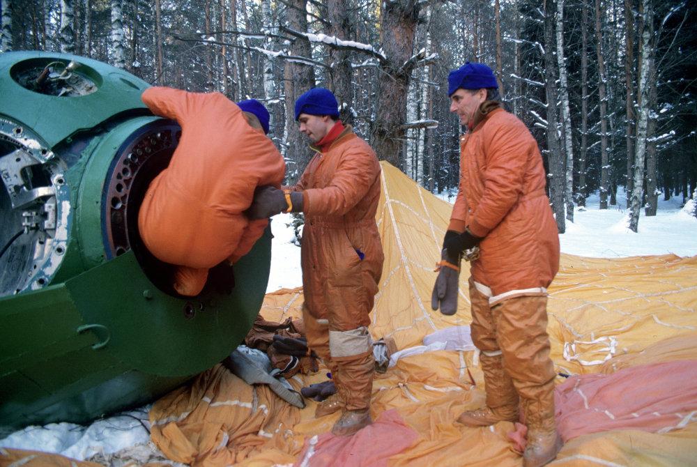 Cosmonauts emergency landing survival training in winter conditions in marshlands