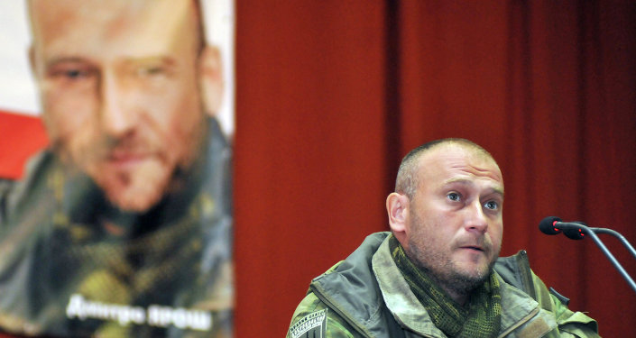 Right Sector's leader Dmitry Yarosh meets with residents of Lvov