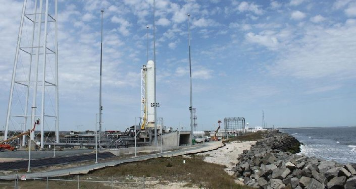 The first stage of Orbital Sciences Corporation's Antares rocket stands in launch position during pathfinder operations at NASA's Wallops Flight Facility and the Mid-Atlantic Regional Spaceport