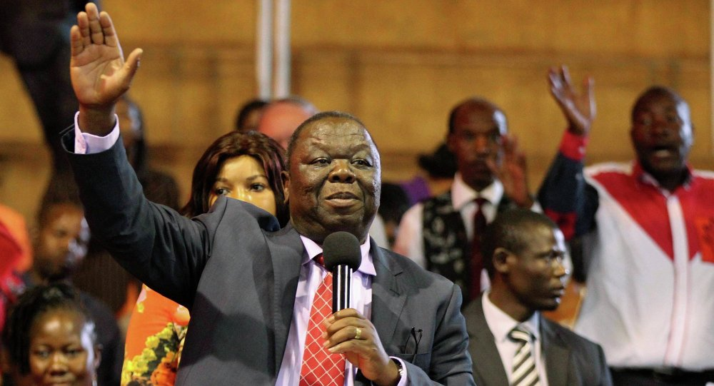 Morgan Tsvangirai addresses members of his opposition Movement For Democratic Change (MDC) party in Harare