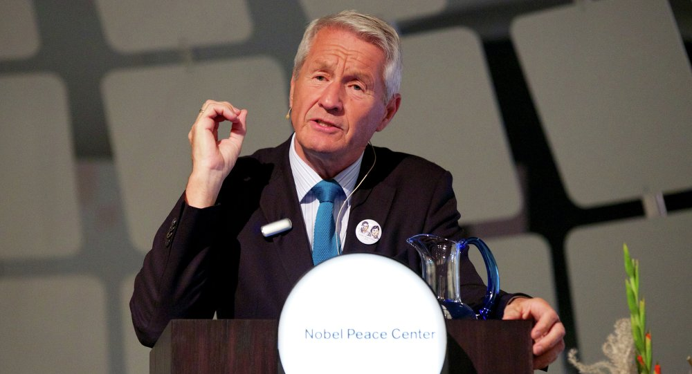 Chair of the Nobel Committee Thorbjorn Jagland holds a lecture