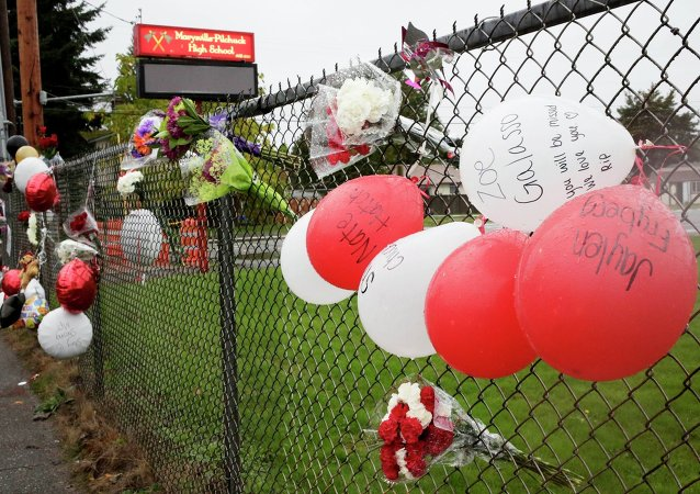 A makeshift memorial outside Marysville-Pilchuck High School