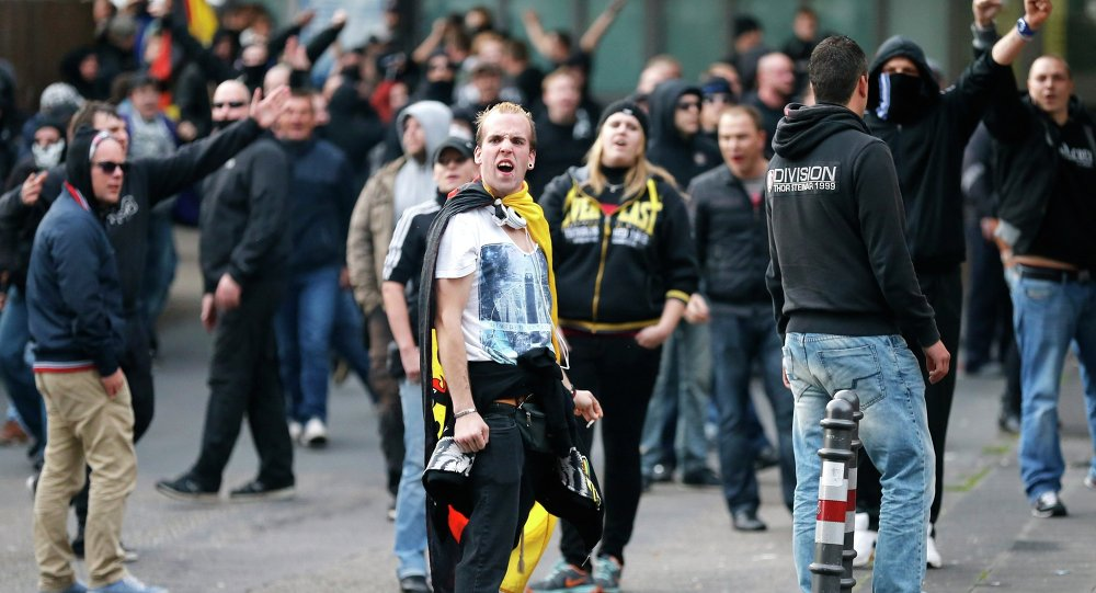 A demonstration by German far-right groups, October 26, 2014.