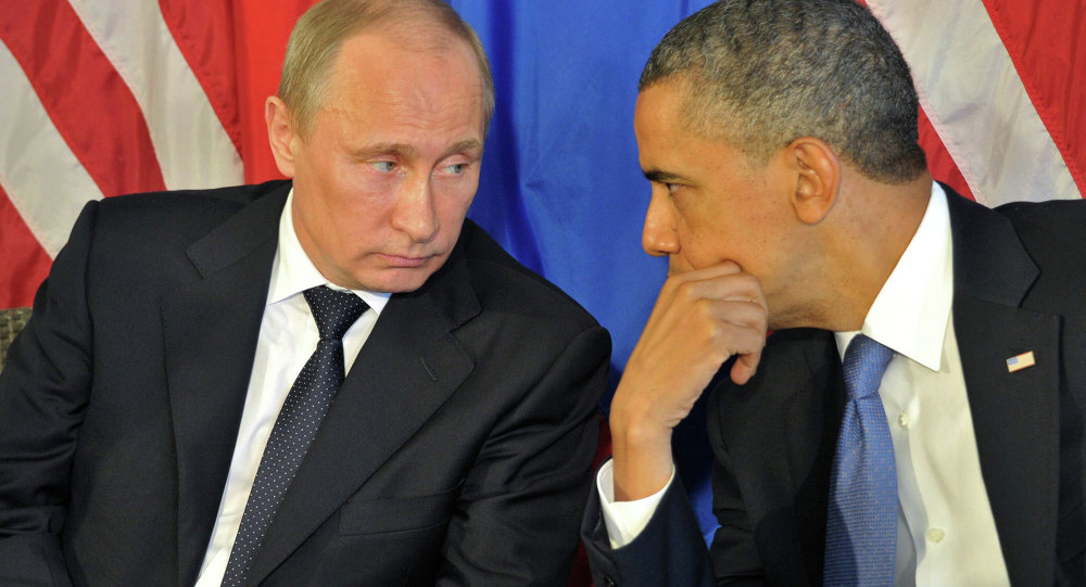 A file photo of Russian President Vladimir Putin and US President Barack Obama