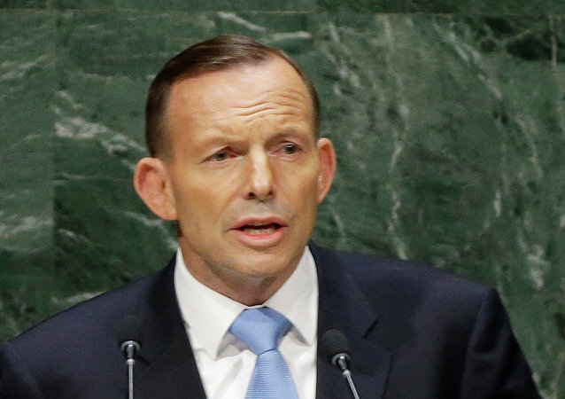 Australian Prime Minister Tony Abbott addresses the 69th session of the United Nations General Assembly