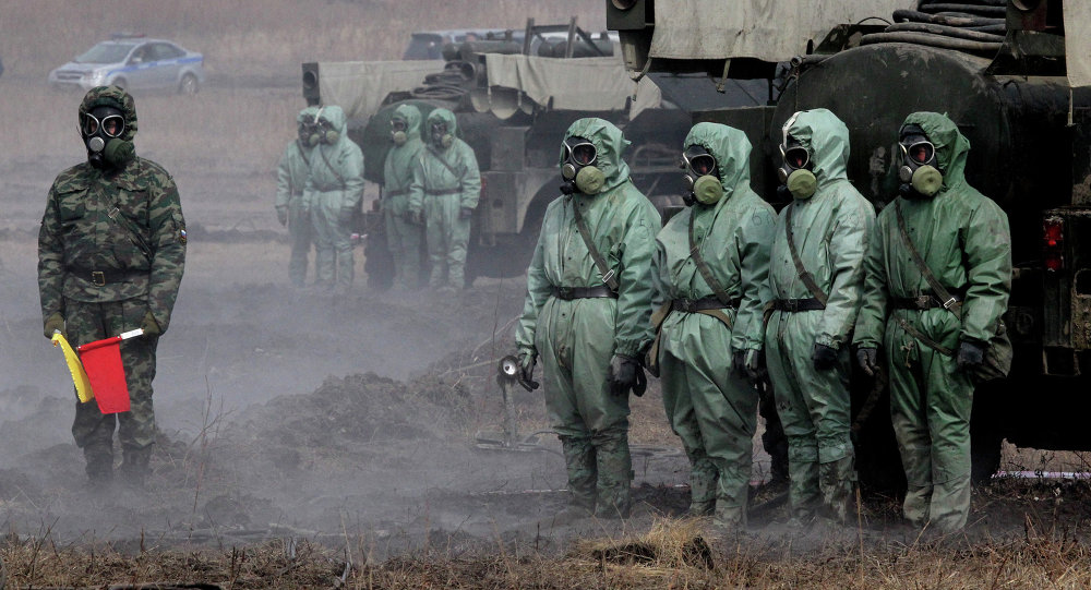 Servicemen of a radioactive and chemical protection unit during an inter-agency training exercise