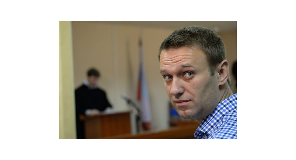 Opposition activist and former Moscow mayoral candidate Alexei Navalny in court in Kirov, Russia, Thursday