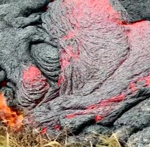 Fiery Lava From Kilauea Volcano in Hawaii Was Bubbling and Creeping Towards the Town of Pahoa