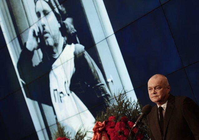 Mourning ceremony for Andrei Stenin at Rossiya Segodnya