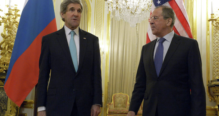 Russian Foreign Minister Sergei Lavrov, right, and U.S. Secretary of State John Kerry at their meeting at the Russian Ambassador's residence in Paris.