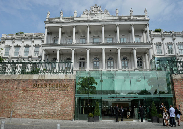 Picture shows Coburg Palais in Vienna,where Vice President of the European Commission Catherine Margaret Ashton talks with US Secretary of State John Kerry at the on July 13, 2014, for talks with foreign ministers from the six powers negotiating with Tehran on its nuclear programWestern foreign ministers from the P5+1 group of nations are expected in Austria to try and resolve differences with Iran over its nuclear program, a week before the deadline to strike a deal