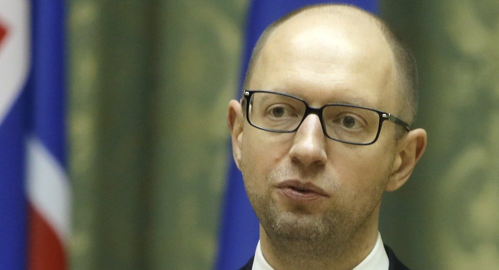 Ukrainian Prime Minister Arseniy Yatsenyuk speaks during a press conference in Kiev, Ukraine, Tuesday, Nov. 18, 2014