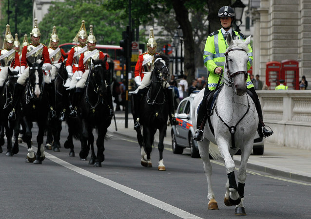 A mounted police officer patrols with Household Cavalry in Whitehall in London