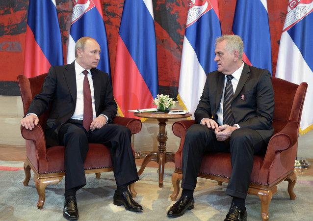 Russian President Vladimir Putin meeting with Serbian President Tomislav Nikolic