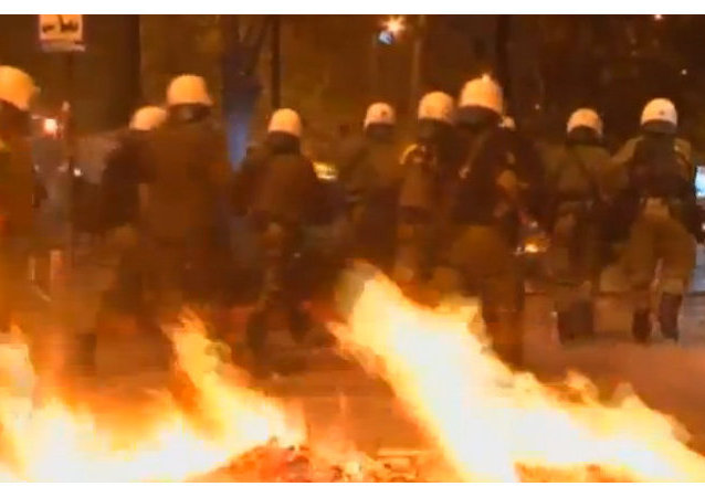 A screenshot of Greek riots, shown by Fox News as Moscow protests